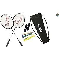Jaspo Cosmo EZ-100 Plus (2 Badminton+Nylon Shuttle Cork+ Carry Bag+Grip)(Multi Colour Racket)