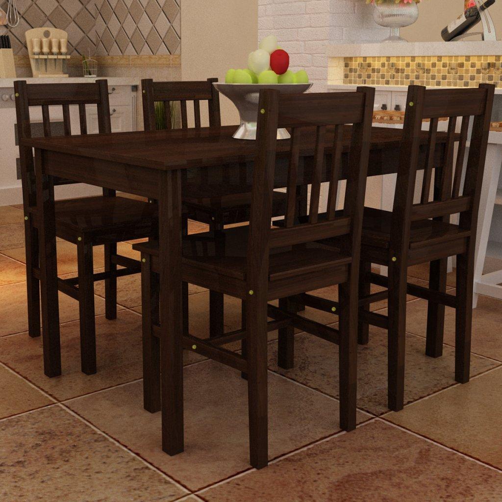 vidaXL Mesa de Comedor con 4 sillas de Madera, Color marrón: Amazon ...
