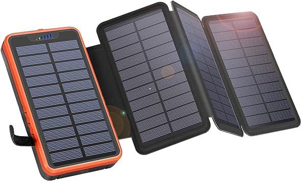 Cargador Solar Portátil a Prueba de Agua Elzle 26800mAh, Power Bank con 4 Paneles Solares, Puertos USB Duales de 5V / 2.1Acompatible con Teléfonos Inteligentes, Tabletas y Más Acampar al Aire Libre: