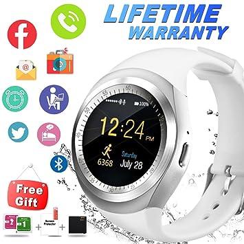 Smartwatch Android, Impermeable Reloj inteligente con Cámara Whatsapp Táctil Teléfonos Reloj Sport Fitness Podómetro Bluetooth Smart Watch Pulsera Wristband ...