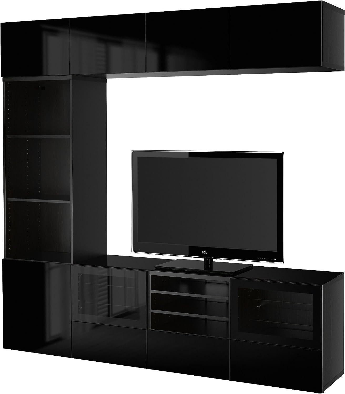 IKEA BESTA - almacenaje de la TV puertas combinación / de vidrio Negro-marrón / selsviken alto brillo / de vidrio transparente negro: Amazon.es: Hogar