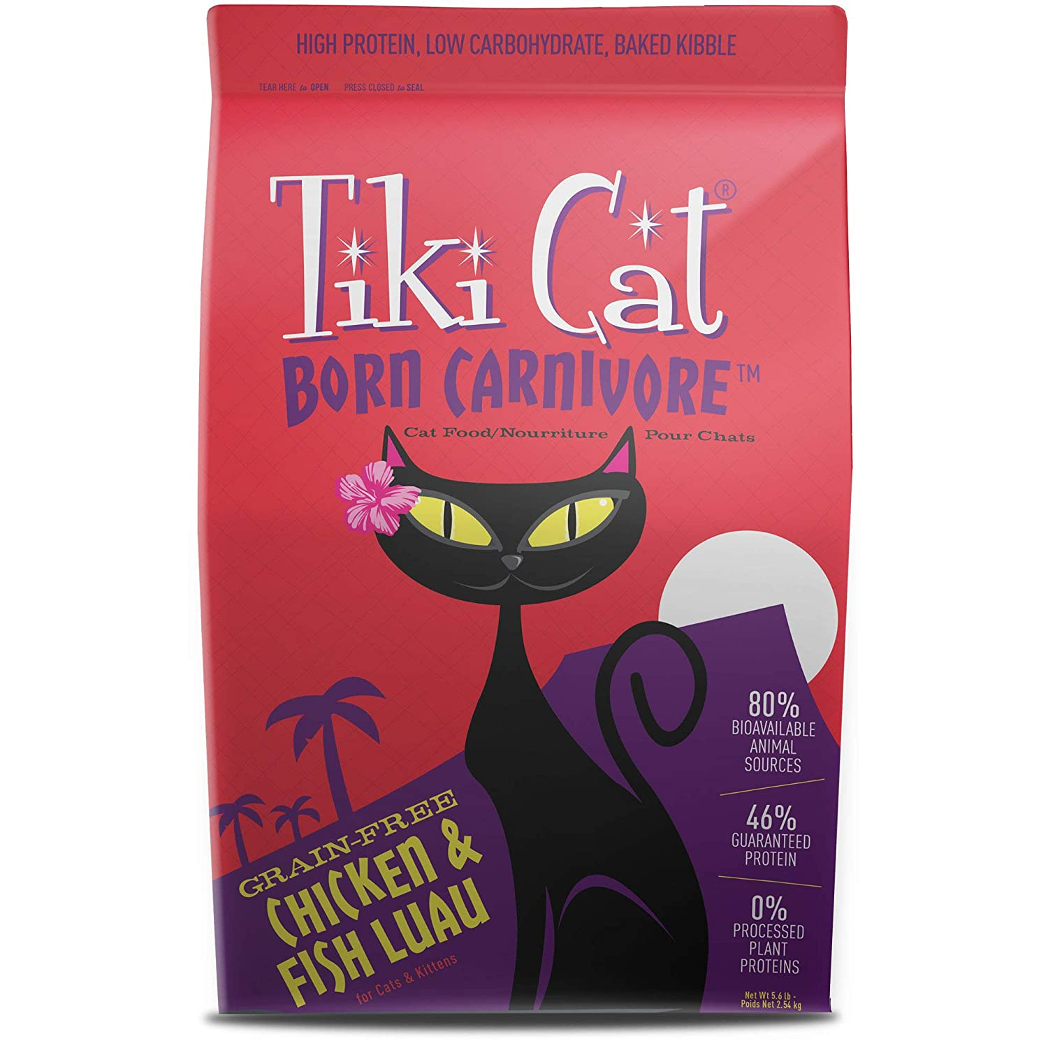 Tiki Cat Born Carnivore Cat Food – Grain Free, Dry Food for Cats - 5.6 lbs. - Chicken & Fish Luau