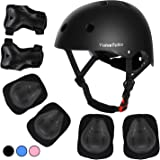 ValueTalks Kids Helmet Pad Set, Adjustable Kids Bike Helmet and Knee Pads Elbow Pads Wrist Guards 3~10yrs Kids Protective Gea