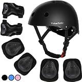 ValueTalks Kids Helmet Pad Set, Adjustable Kids Bike Helmet and Knee Pads Elbow Pads Wrist Guards 3~10yrs Kids…