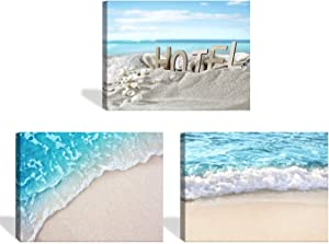 JLXART Canvas Wall Art 3 Panel Blue Ocean Beach Wall Art Home Decor for Living Room Bedroom Bathroom Ocean Pictures Artwork Ready to Hang Size:12x16inch