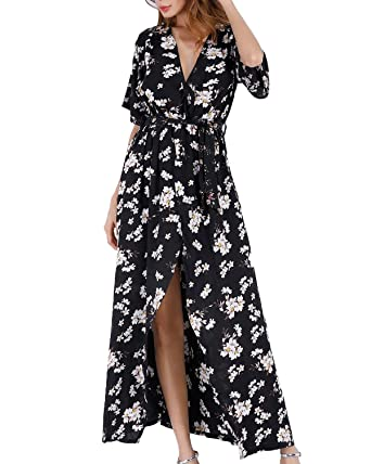 023cc8b16d Women Wrap Maxi Dress Boho Floral Flowy V Neck Short Sleeves Split Summer  Party Beach Dresses