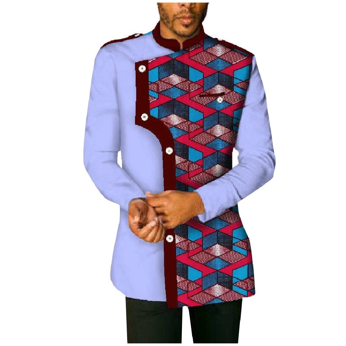 YUNY Mens Plus-Size Cotton African Printed Long-Sleeve Western Shirt peachpuff 3XL