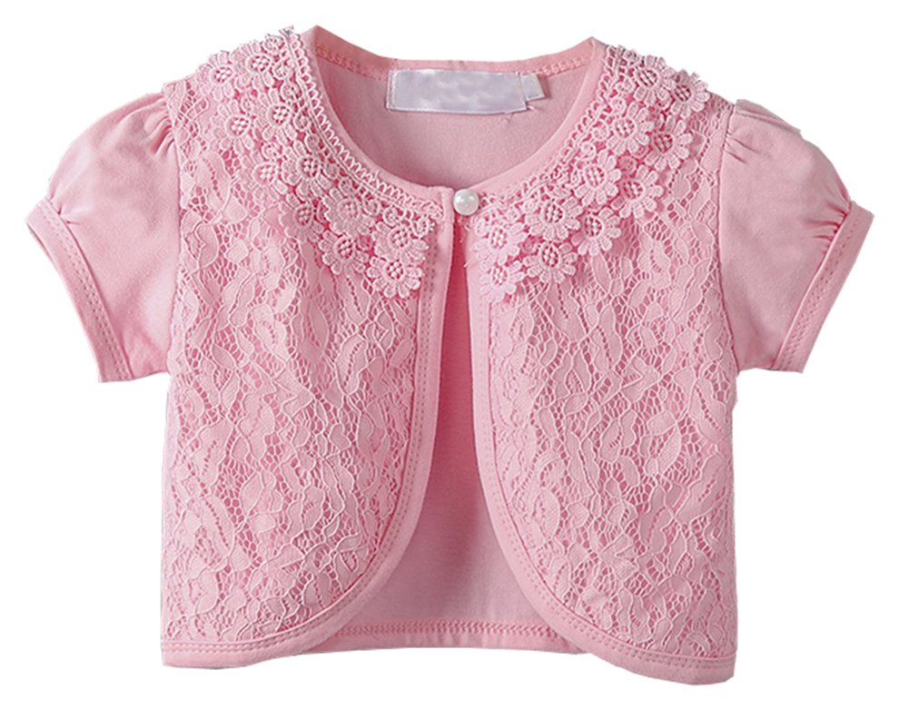 GSVIBK Little Girls Long Sleeve Lace Cardigan Button Closure Bolero Cardigans Shrugs Dress Cover up Short Pink 6 Year(140)-104