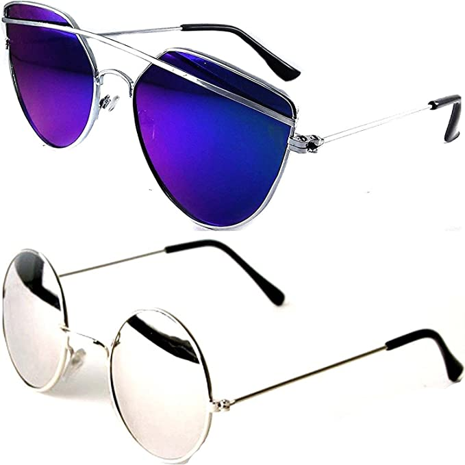 4719c9d292 Younky Cateye Boy s Girl s Men s   Women s Combo Of 2 Sunglasses  (Byk Drsbm-Rdsm