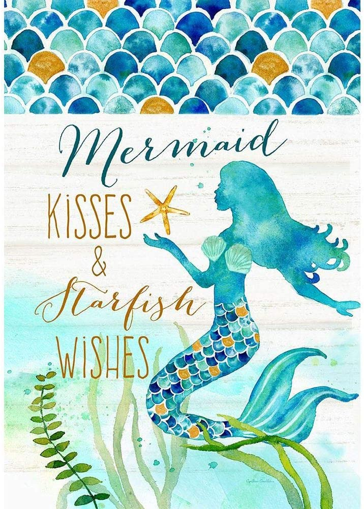 Custom Decor Mermaid Kisses & Starfish Wishes - Standard Size, Decorative Double Sided, Licensed and Copyrighted Flag - Printed in The USA Inc. - 28 Inch X 40 Inch Approx. Size
