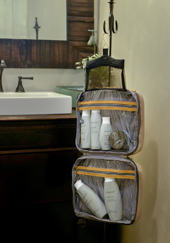Bellemonde Hanging Toiletry Bag Travel Kit for Men and Women | Washable, Stain-resistant | Timeless Design Toiletry Organizer, Makeup Bag, Cosmetic Bag | Packs Flat 12'' x 10'' x 3.5'' | BL178PB Blue by Bellemonde (Image #8)