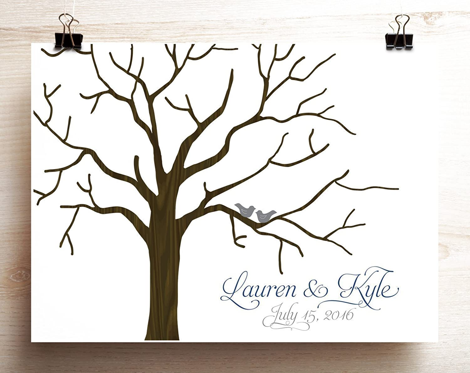 Wedding tree guest book alternative Woodgrain look wedding tree poster with lovebirds on branches