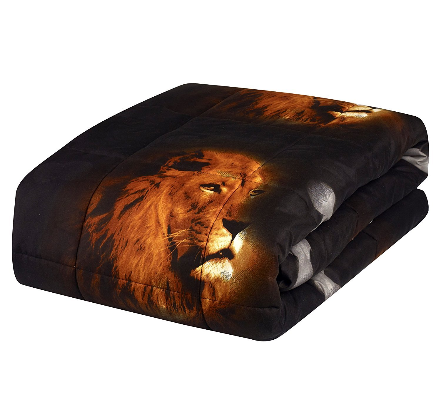 HUAJIE 2 Piece Set Beautiful Soft 3d Print Vivid Animals Pattern Box Stitched Comforter Set (1 Comforter,1 Pillowcase) (Twin, Tiger Lion) by HUAJIE (Image #7)