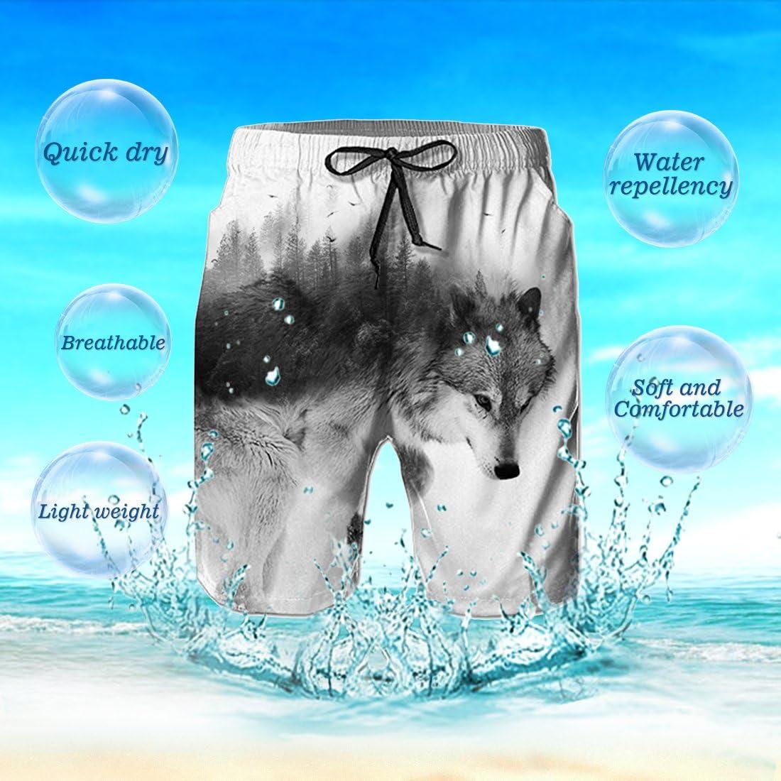 Idgreatim Mens Swim Trunk 3D Print Graphic Summer Beach Shorts Surfing Trunks