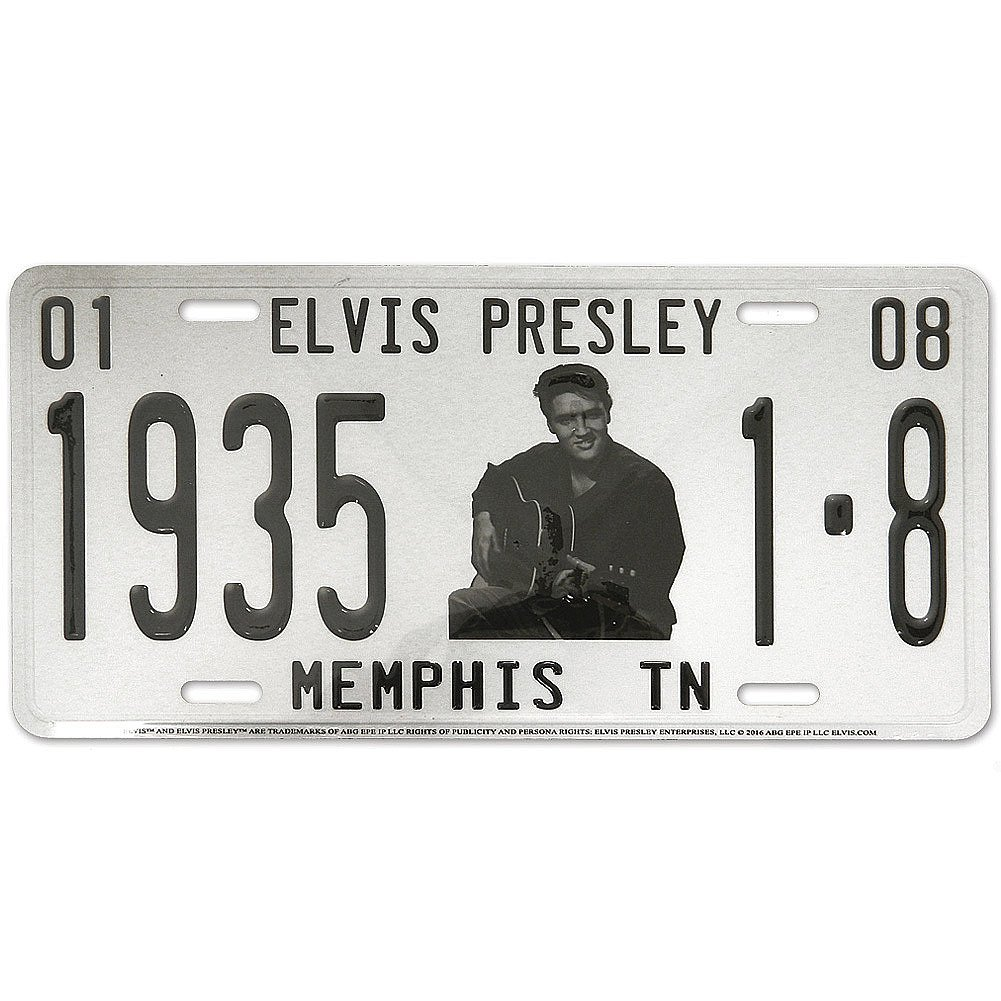 Elvis With Guitar Memphis TN Metal License Plate Midsouth Products