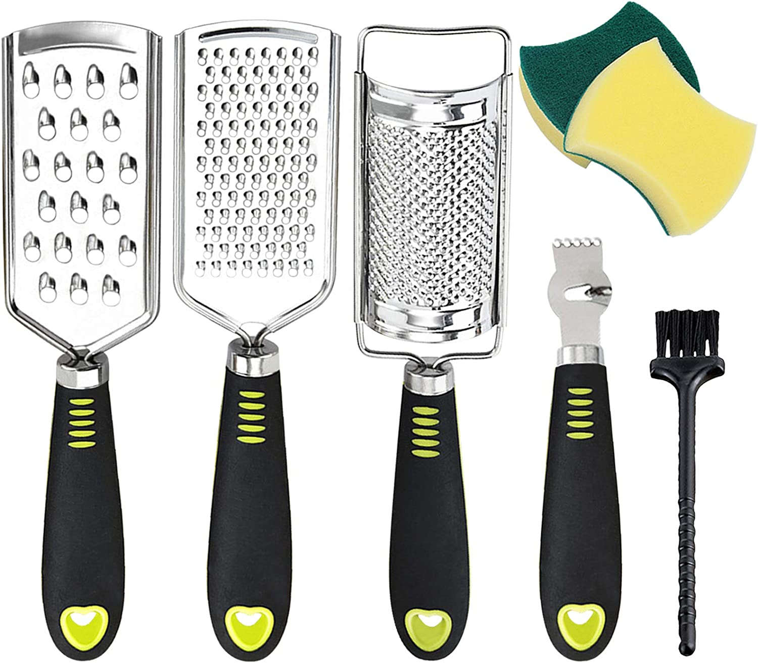 Set of 7 Graters for Cheese Lemon Zester, Stainless Steel Blade and Comfortable Grip Handle Multi-application Food Grater Slicer for Kitchen,Vegetable,Fruit,Chocolate With Cleaning Brush Sponge Brush