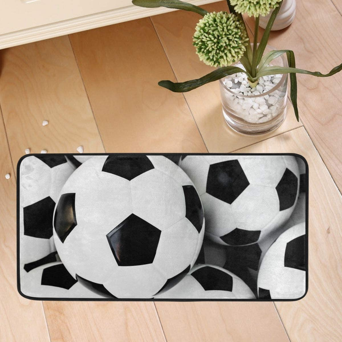 Kitchen Rugs Floor Mat - Football Soccer Non Skid Comfort Doormat Washable Anti-Fatigue Office Chair Carpet 20x20in for Dining Room Dorm Bedroom Home Decor