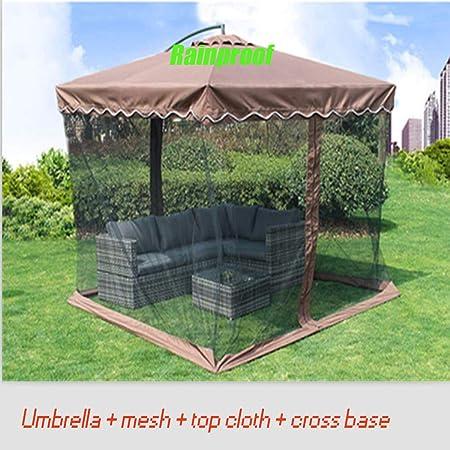 BWBG Pantalla con Cremallera para Paraguas Mesas De Patio, Mosquitera Paraguas para Jardín Impermeable Paraguas De Malla(Paraguas + Malla + Tela Superior + Fondo Horizontal): Amazon.es: Hogar