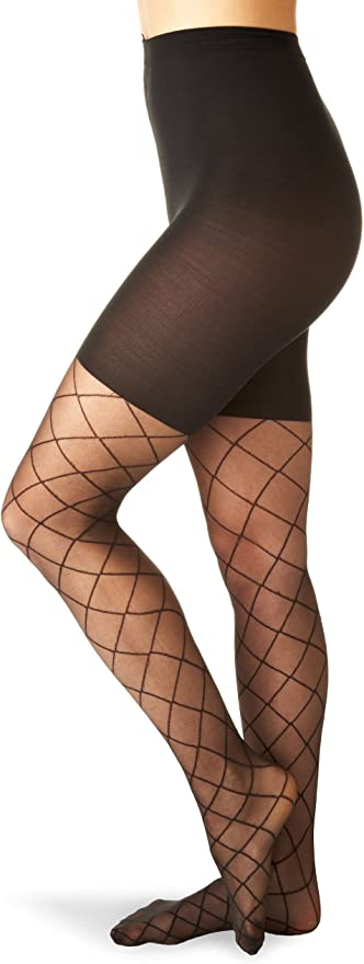 1920s Style Stockings, Tights, Fishnets & Socks SPANX Sheer Fashion Shaping Diamond Patterned Pantyhose A Black $19.99 AT vintagedancer.com