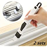 Ouwoow 2-in-1 Multipurpose Window Groove Cleaning Brush with Dustpan 2 sets,Corner Cranny Household Keyboard Detachable Brush Cleaning Tool