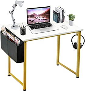 LUFEIYA Small Computer Desk White Writing Table for Home Office Small Spaces 31 Inch Modern Student Study Des with Gold Legs,White Gold