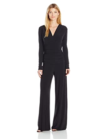 0b65d36404b6 Amazon.com: Norma Kamali Women's V Neck Longsleeve Shirred Waist Jumpsuit:  Clothing