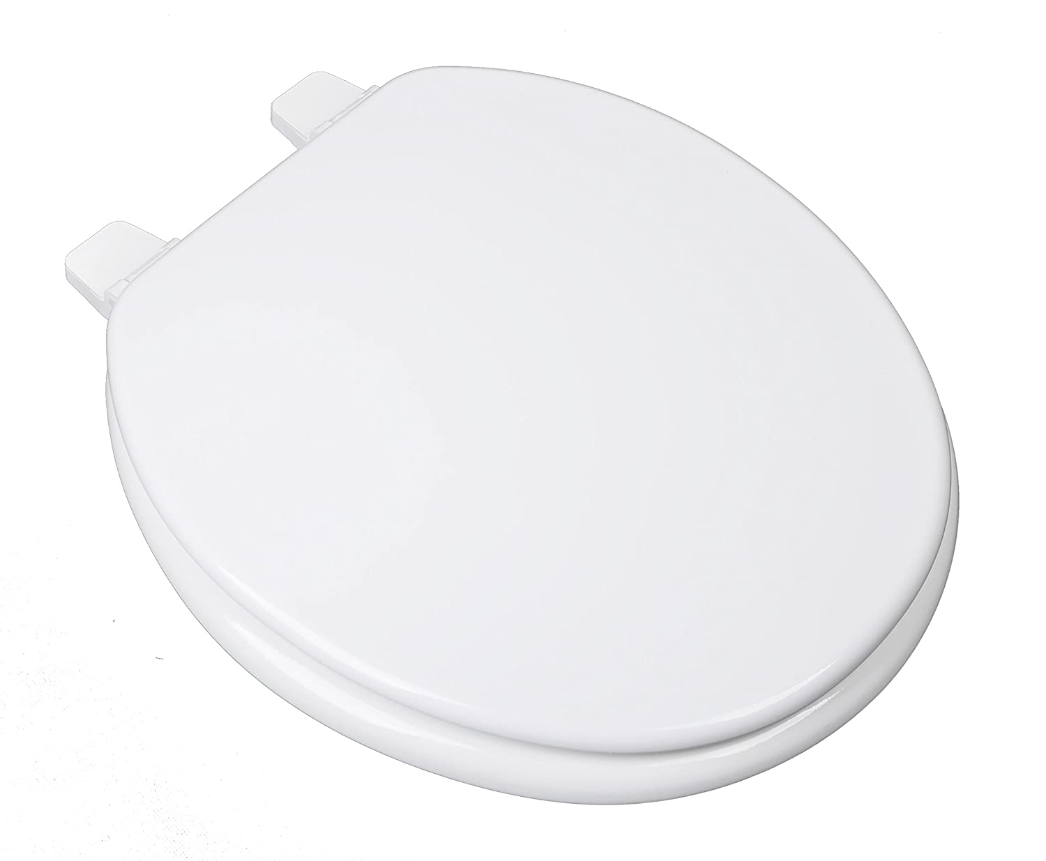 BathDecor 1F1R2-00 Builder Grade Molded Wood Round Toilet Seat with Adjustable Hinge, White