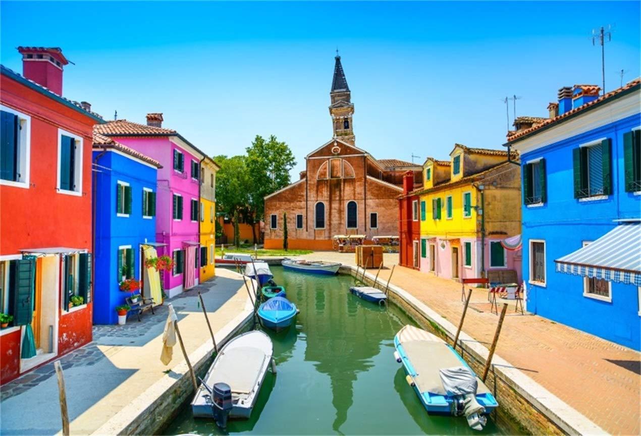 aofoto Italy City Buildings背景Sea Coast Houses写真バックドロップ川Street Landmark Landscape Vacation Travel Photo Studio Props壁紙 6x4ft LBK02289 B07GB7BSY9
