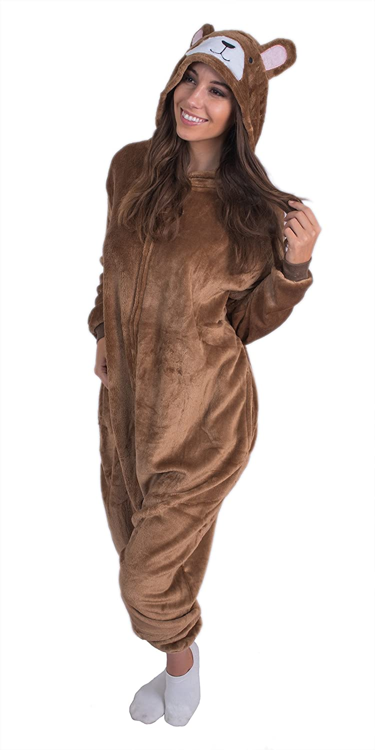Amazon.com  Adult Onesie Plush Bear Animal Pajamas Comfortable Costume with  Zipper and Pockets (Small)  Clothing 0a0eecc60