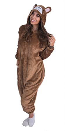 5cd14044effe Amazon.com  Adult Onesie Plush Bear Animal Pajamas Comfortable Costume with  Zipper and Pockets (Small)  Clothing