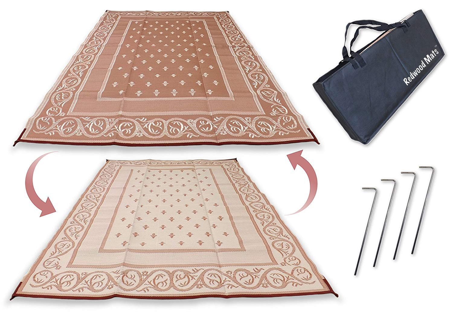 Redwood Mats Patio Mat 9' X 12' Beige Reversible Outdoor Rug Camping Rv Mat Indoor (With Ground Stakes & Carry Bag)