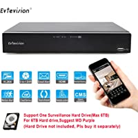 Evtevision 16CH 16Channel AHD TVI CVI DVR 1080N/720P NVR HDMI P2P Cloud Network Onvif Digital Video Recorder,Support Plug and Play Android/iOS APP CMS IE Browser View Motion Detection Email Alarm CCTV Security Camera Surveillance System