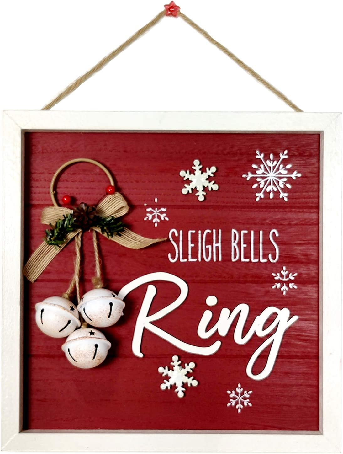 HOMirable Christmas Wall Décor, Sleigh Bells Ring Wooden Home Wall Sign, Rustic Snowman Holiday Red Hanging Sign, Winter Snow Decorative Farmhouse Ornament Wall Art Plaque Gift