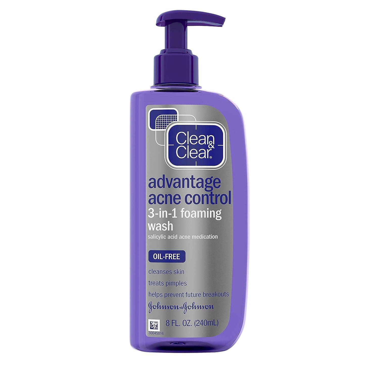 Clean & Clear Advantage Acne Control 3-in-1 Foaming Face Wash with Maximum Strength Salicylic Acid Acne Medicine, Oil-Free & Non-Comedogenic for Acne-Prone Skin Care, 8 fl. oz