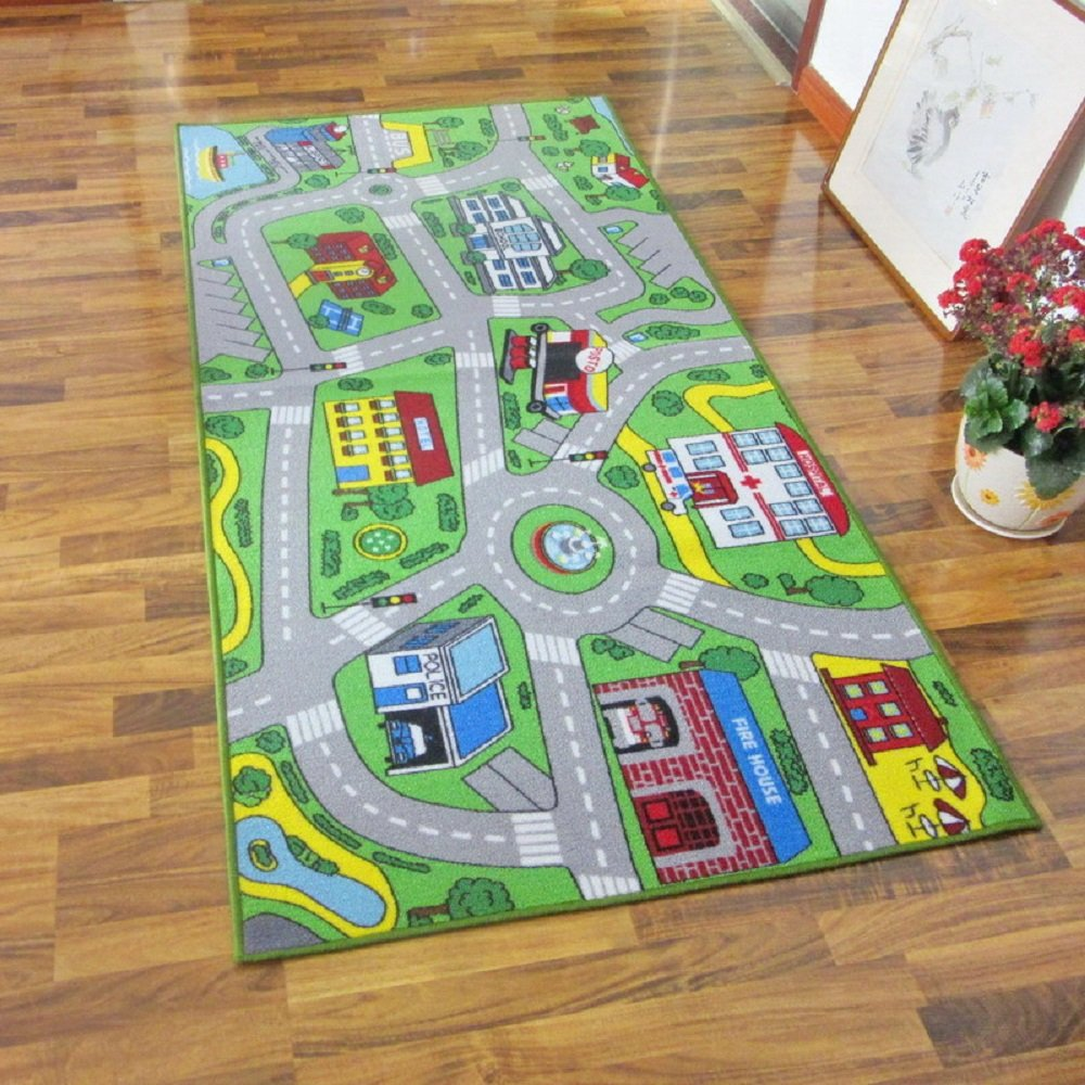 HEBE Large Kids Play Rugs for Playroom 40''x79'' Non Slip Kids Rug Educational Learning Carpets Road Traffic Play Mat Playmat For Kids rooms Classroom(Street 1)