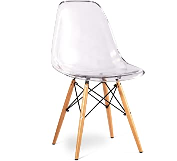 Nicer Furniture® Set Of Two (2) Clear   Eames Style Side Chair With