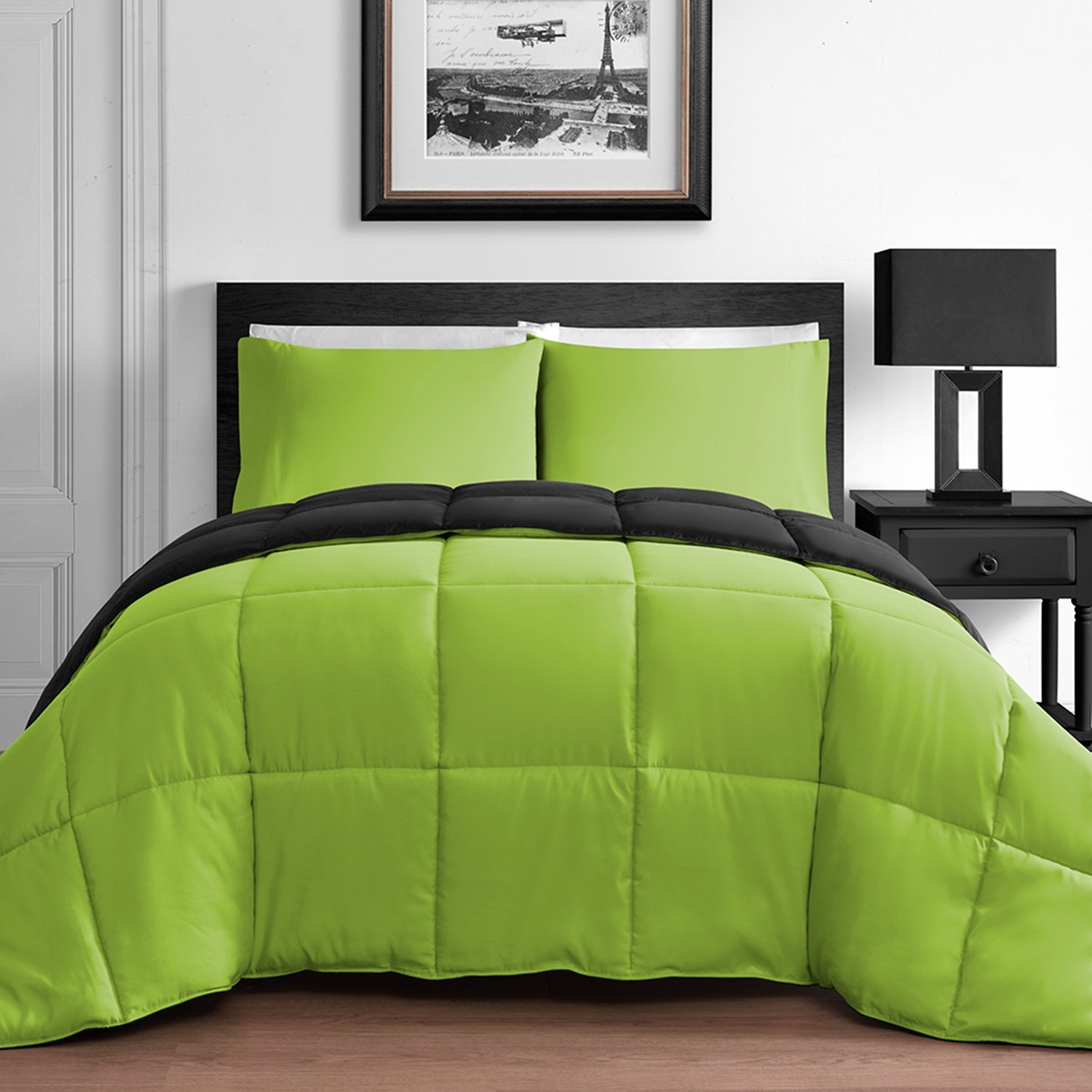 Modern 3 Piece King & Queen Home Reversible Microfiber Comforter Set in Lime Green & Black