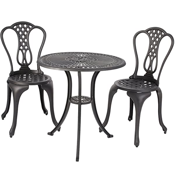 Merax 3-Piece Outdoor Bistro Patio Set Cast Aluminum Furniture Set Table and Chairs, Black