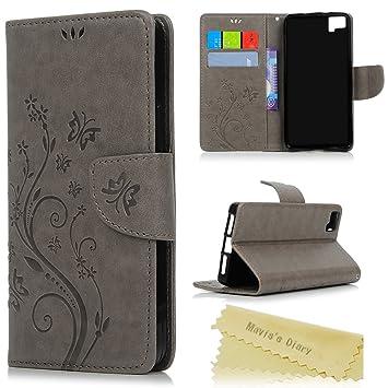 bq Aquaris M5 Funda Libro de Suave PU Leather Cuero Impresión - Maviss Diary Carcasa Con Flip case cover,Cierre Magnético,Función de ...