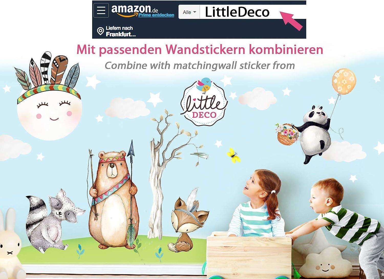 Little Deco DL312 Sticker Mural d/écoratif pour Chambre de b/éb/é Motif Lapin et Souris I Ballons et /étoiles