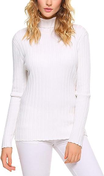 Abollria Suéter Elegante Cuello Alto para Mujer Basic Jerséy ...