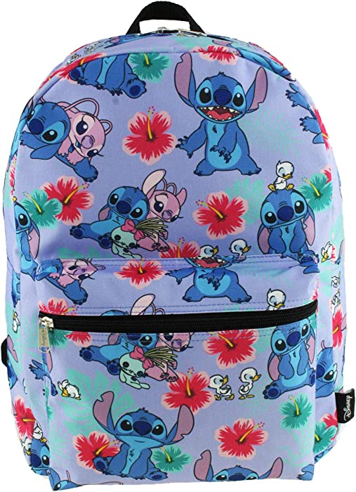 Lilo and Stitch 16 Inch Allover Print Laptop Backpack (Lavender)