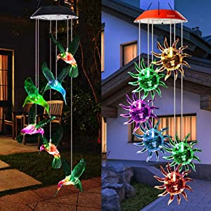 Mosteck Wind Chimes Outdoor Solar,Hummingbird Wind Chimes & Sunflower Wind Chimes Color Changing Lights Mobile Wind Chime