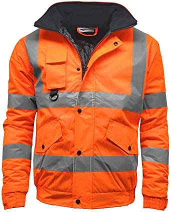 e38e23e16646 Mens Waterproof Hi Visibility Two Tone Safety Quilted Bomber Jacket  Standard Safety Work Wear Jackets  Clothing