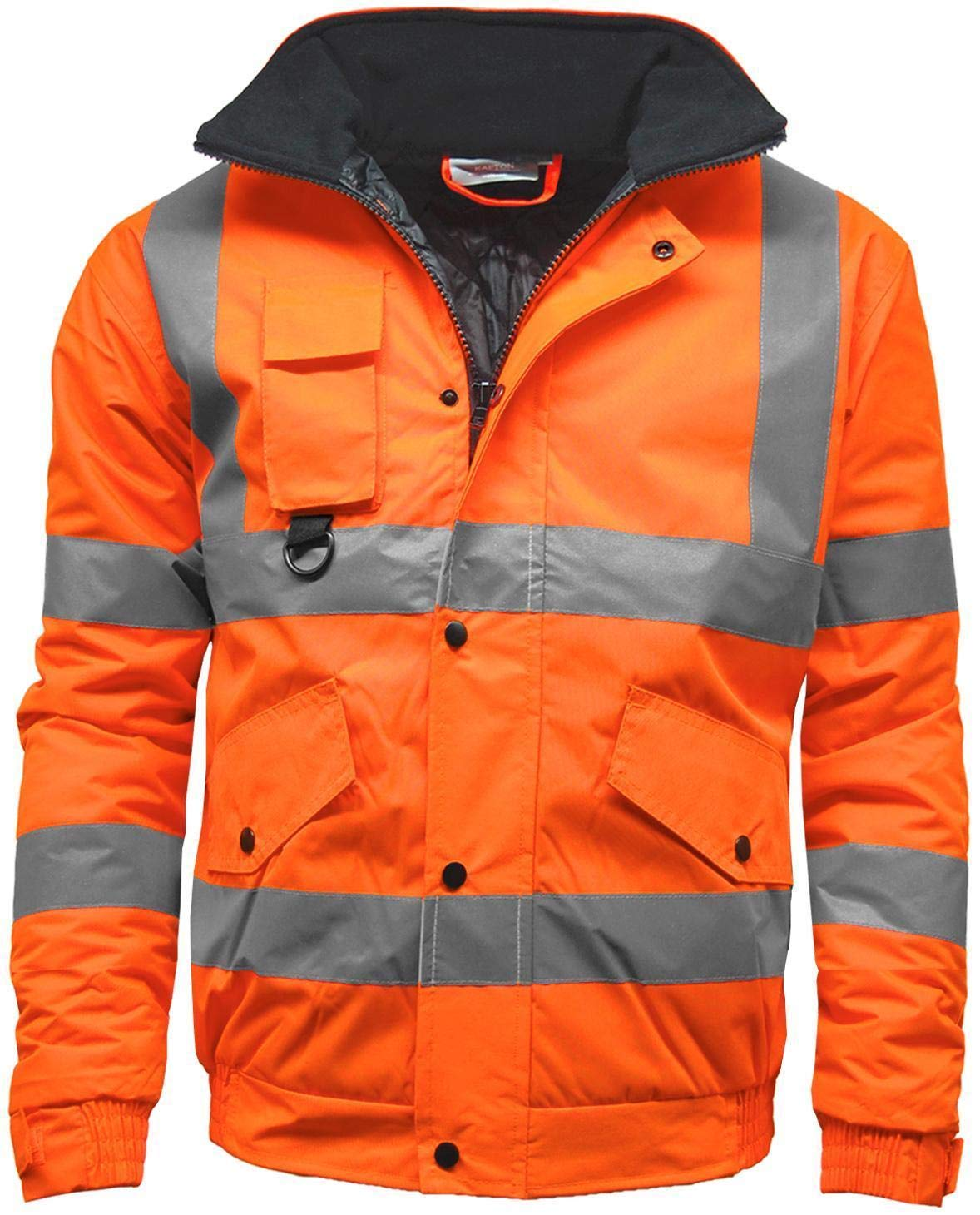 KAPTON. Mens Waterproof Hi Visibility Two Tone Safety Quilted Bomber Jacket Standard Safety Work Wear Jackets Orange X-Large