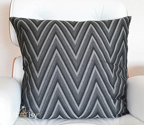 Almohada de jardín 50x50 cm en zigzag gris negro