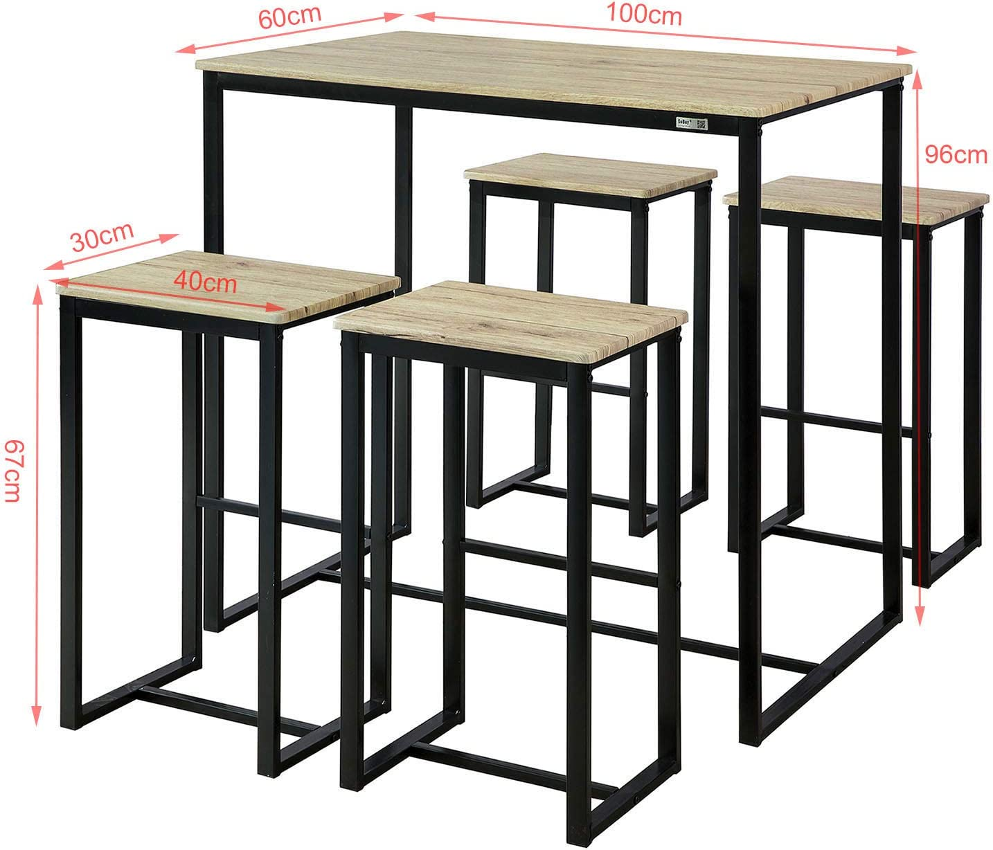 Bar Table with 4 Bar Stools,Kitchen Counter with Bar Chairs 5 Piece Dining Set,Dining Table with 4Stools,Home Kitchen Breakfast Table,Bar Table Set Haotian OGT15-N