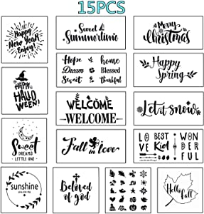 Reusable Stencils for Painting - Easy Paint Seasonal Sign Stencil for Front Door, Porch or Outside Home Decor - Comes with Seasonal and Festvial Stencils