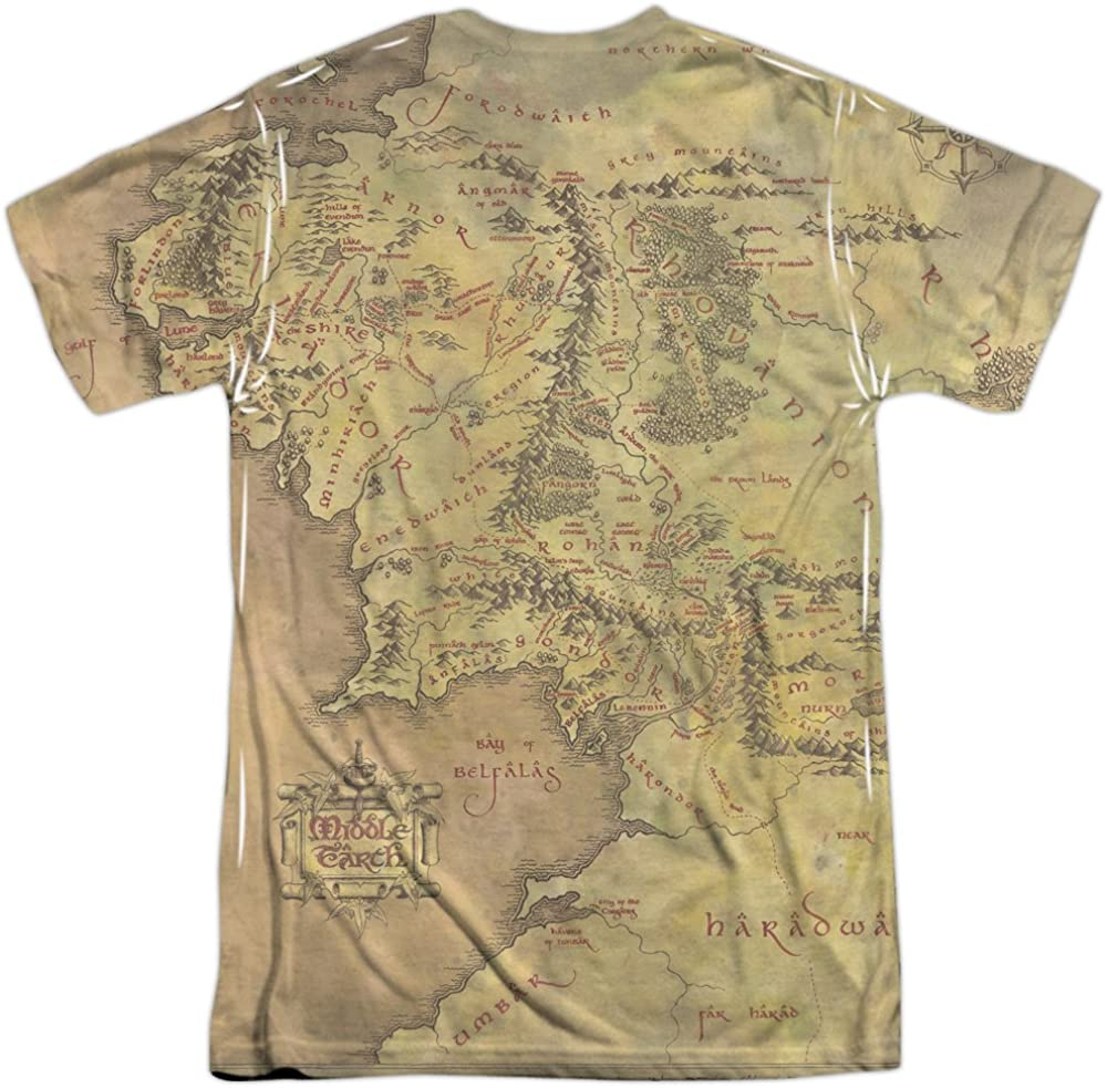The Hobbit Middle Earth Map Adult Work Shirt