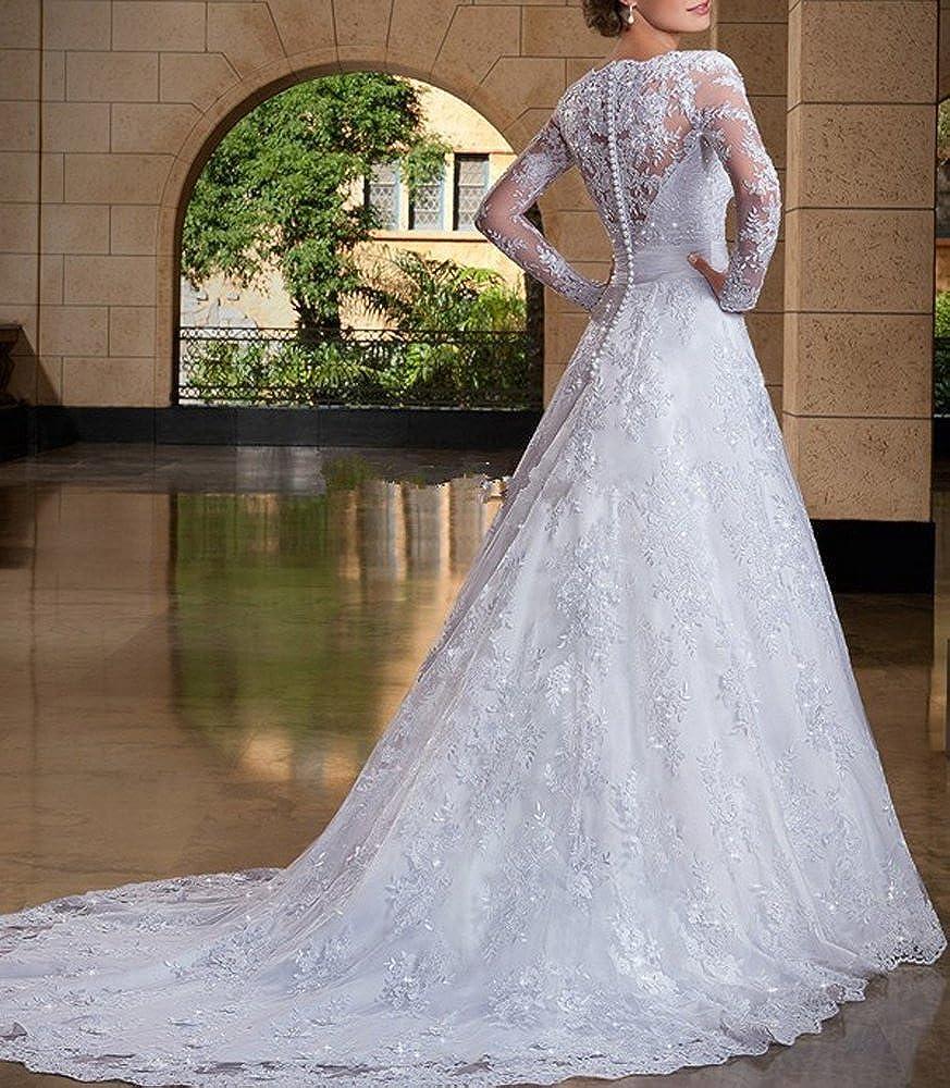 BessDress Double V-Neck Lace Applique Empire Wedding Bridal Gown BD045